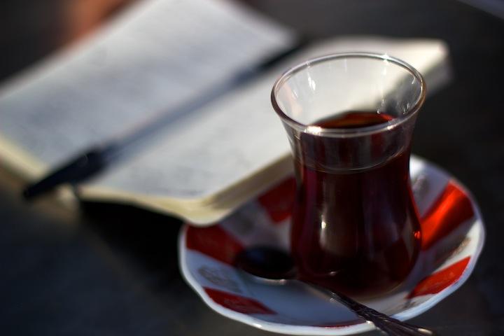 Studying Kurdish over a glass of tea!